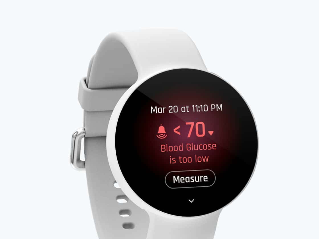 Blood glucose warning screen on watch