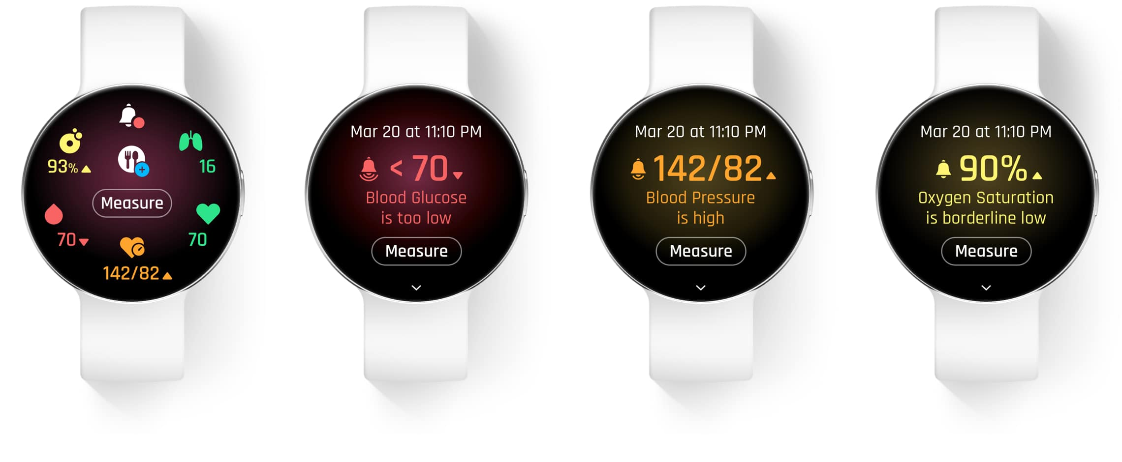 Series of screen designs showing user flow for measuring vital signs (blood glucose, blood pressure, and oxygen saturation)