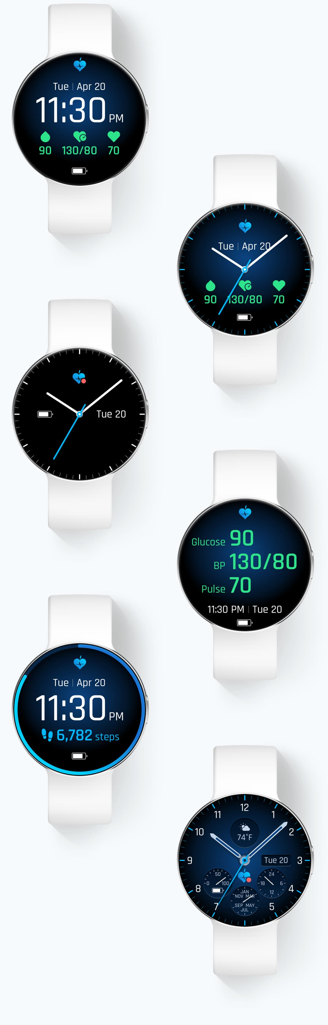 Renderings showing various custom watch faces a user can create and customize