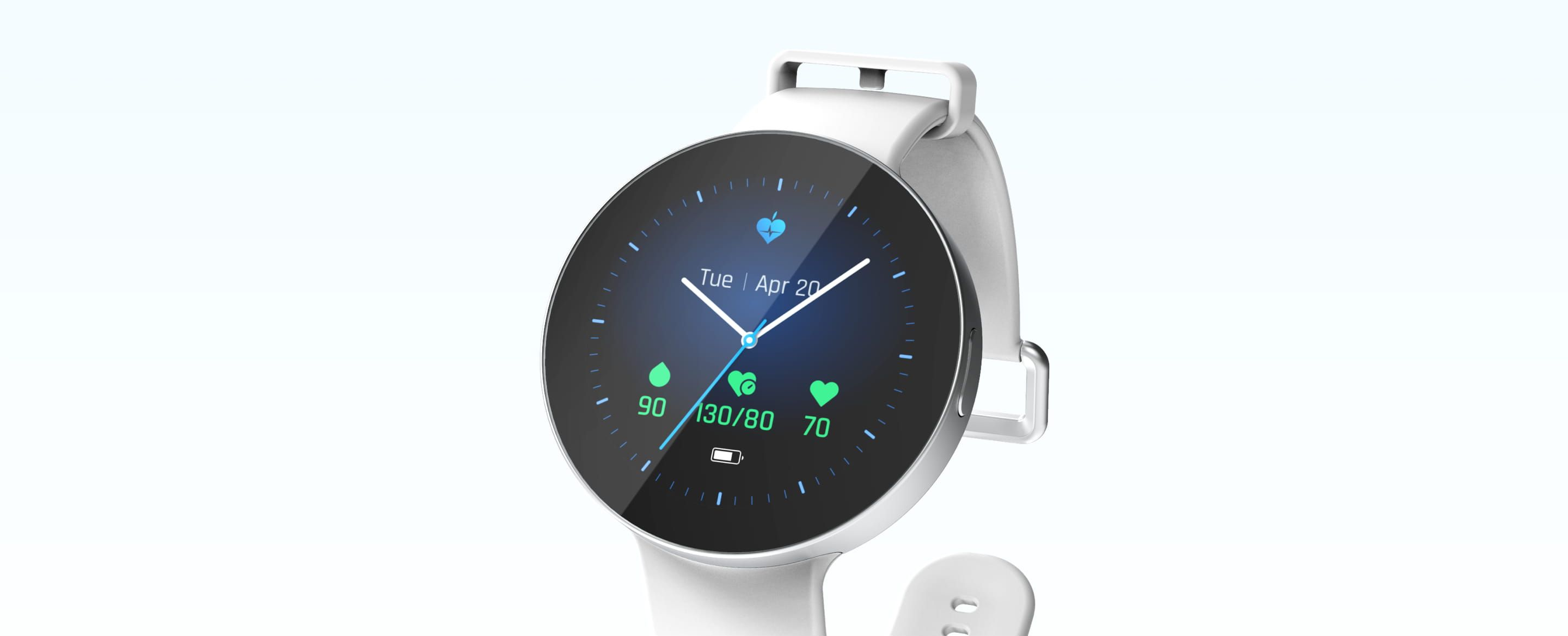 Rendering of LifePlus glucose-monitoring smart-watch, showing watch face